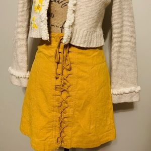Free People Gold Tie Up Skirt